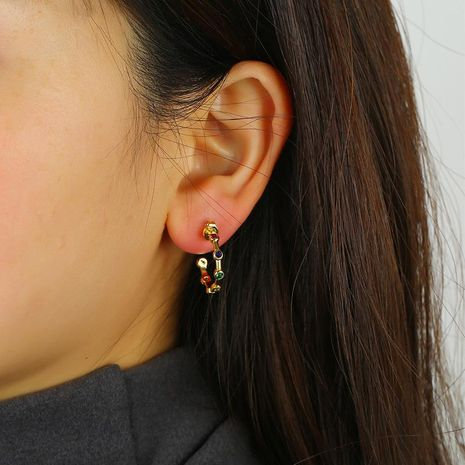 C-shaped studs inlay earrings fashion zinc alloy earrings wholesale NHKQ192354's discount tags