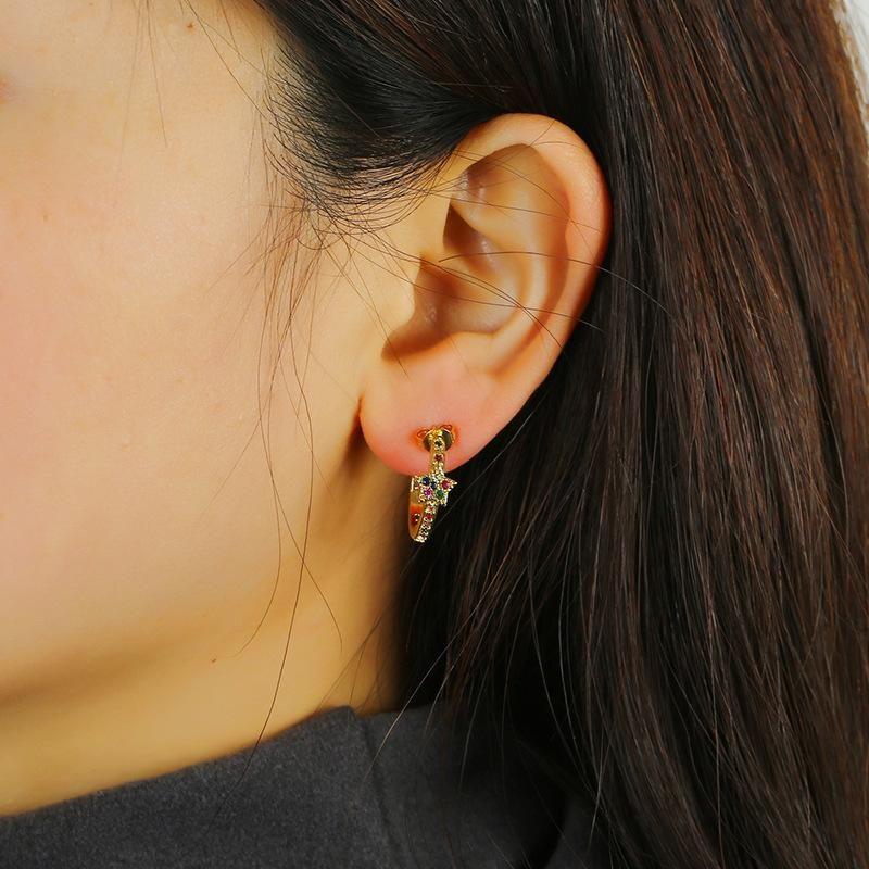 Vintage fashion boho crystal flower earrings NHKQ192359