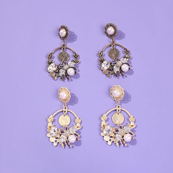 Elegant earrings with pearl and diamonds NHMD192379