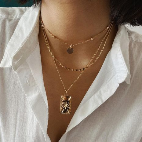 Multi-layer sequin chain multi-layer necklace with  square pendant necklace NHXR192405's discount tags