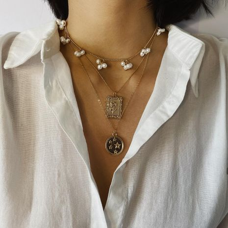 Multi-layer star pendant necklace pearl tassel square necklace NHXR192410's discount tags