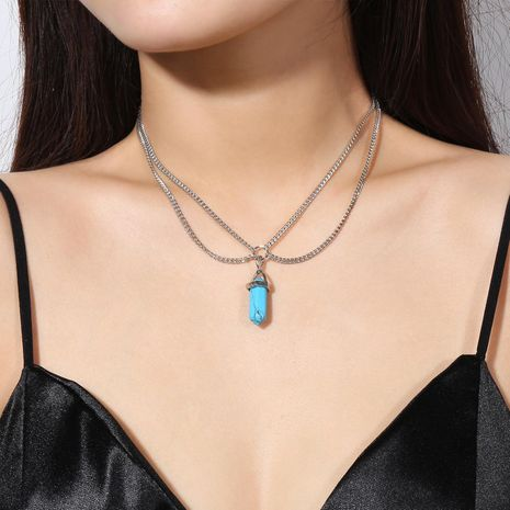 Simple personality tassel chain crystal pendant short money chain NHXR192434's discount tags