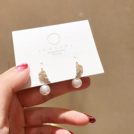 925 Silver Pin Korean Micro Inlaid Zircon Feather Pearl Earrings NHMS192458's discount tags