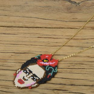 New Frida Frida Jewelry Miyuki Bead Woven Necklace Vacuum Electroplating Color Preservation Necklace NHGW192492's discount tags
