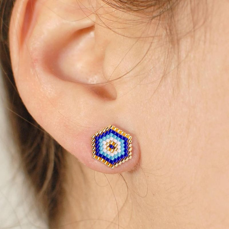 Blue Turkish Eye Jewelry Miyuki Beads Devil's Eye Hand Woven Earrings NHGW192498