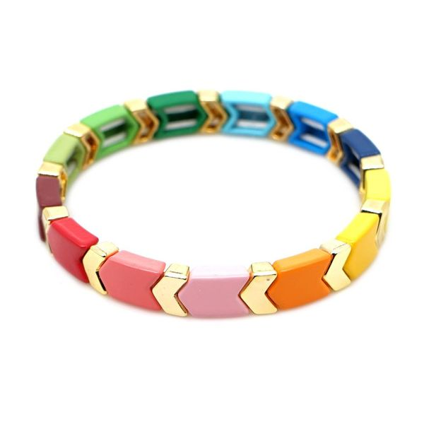 New Colorful Gold Enamel Tile Beads Bracelet NHGW192500