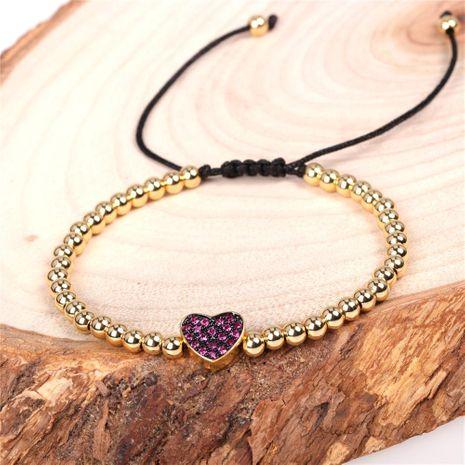 New Bracelet Fashion Micro-Set Diamond Peach Heart Love Bracelet Copper Plated Ball Bead Bracelet NHPY192531's discount tags