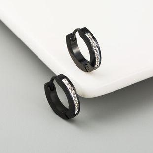 Hot Sale Titanium Steel Earrings Black Single Drain Diamond Hip Hop Men and Women Earrings NHLN192562's discount tags