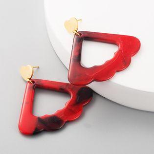 Aretes para mujer de acrílico de moda caliente Pendientes bohemios ondulados de triángulo hueco NHLN192564