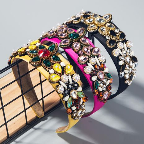 New headband high-end women's headband baroque stained glass diamond headband NHLN192567's discount tags