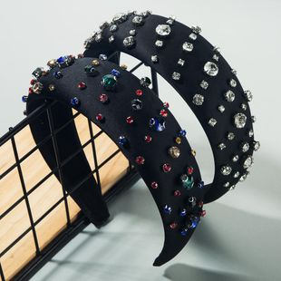 Hot hair accessories hair hoop female inlaid rhinestones oversized wide edge thin sponge baroque retro headband NHLN192570's discount tags
