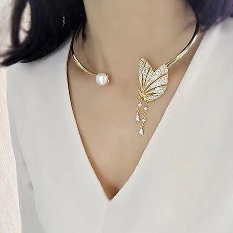 Butterfly Tassel Open Choker Collar Necklace Asymmetric Full Diamond Tassel Earrings NHYQ192576's discount tags