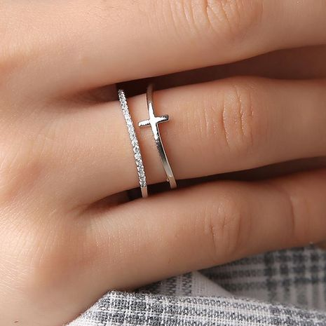 New Rose Gold Cross Plated Inlay Ring Multilayer Open Ring NHDP192615's discount tags