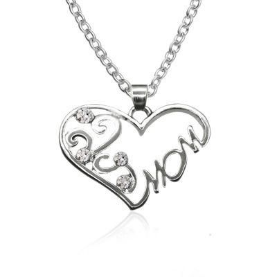Necklace simple heart-shaped diamond English alphabet Mom mom necklace clavicle chain mother's day gift NHCU192644's discount tags