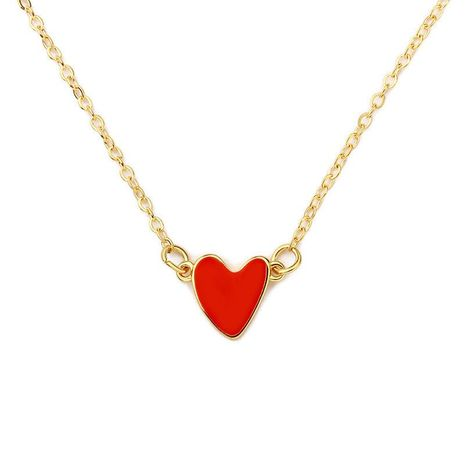 Korean Red Love Necklace Dripping Double Peach Heart Necklace Clavicle Chain Heart Necklace Wholesale NHCU192653's discount tags