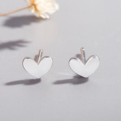 925 Silver Peach Heart Ear Studs Mini Lucky Cute Little Silver Bean Love Ear Studs Heart Shape Stud Earrings NHCU192655's discount tags
