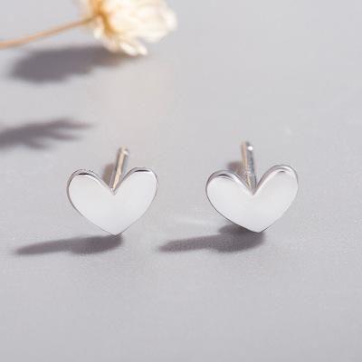 925 Silver Peach Heart Ear Studs Mini Lucky Cute Little Silver Bean Love Ear Studs Heart Shape Stud Earrings NHCU192655