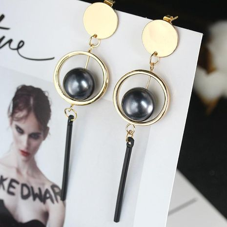 Fashion girl simple geometric three-dimensional circle pearl long earrings NHCU192674's discount tags