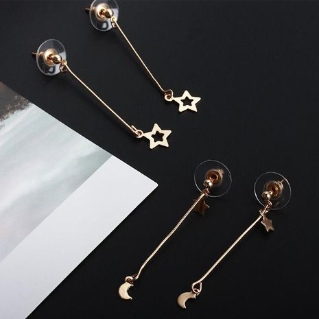 Little Star Moon Long Earrings NHCU192676's discount tags