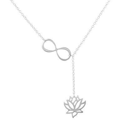 Hot sale simple flower flower hollow lotus necklace number 8 character necklace long necklace NHCU192685's discount tags