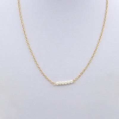 Necklace Wholesale Simple Word Pearl Necklace Lady Short Payment Chain Clavicle Chain Jewelry NHCU192696's discount tags