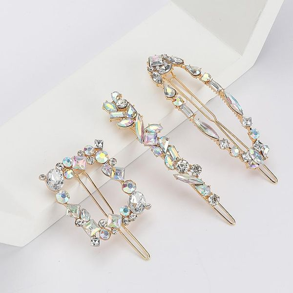 Exaggerated personality alloy diamond AB color geometric hair clip set side clip NHJE192727