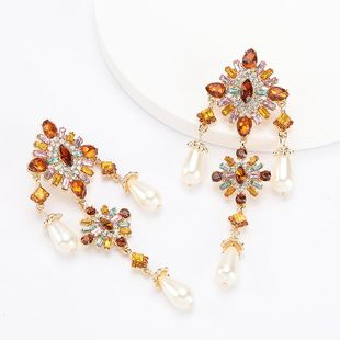 earrings new multi-layer alloy diamond rhinestone flower pearl earrings NHJE192729's discount tags