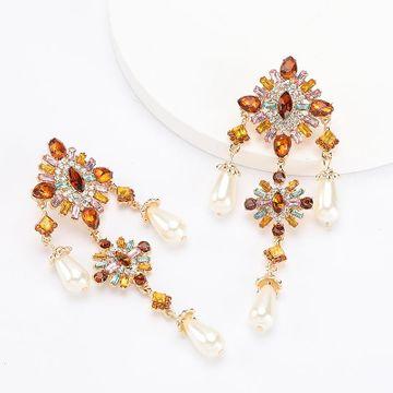 earrings new multi-layer alloy diamond rhinestone flower pearl earrings NHJE192729