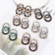 Aretes de Doble anillo de aleación radial de diamantes de imitación de diamantes sol flor pendientes de mujer pendientes NHJE192730