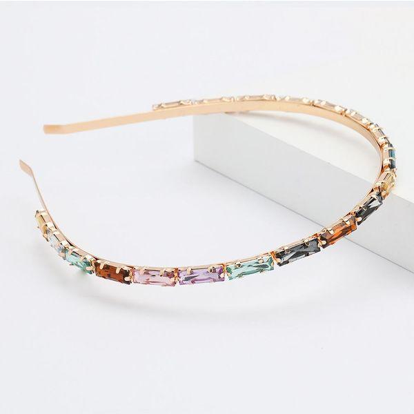 Alloy diamond rectangular glass diamond hair hoop female super flash simple headband wholesale NHJE192731