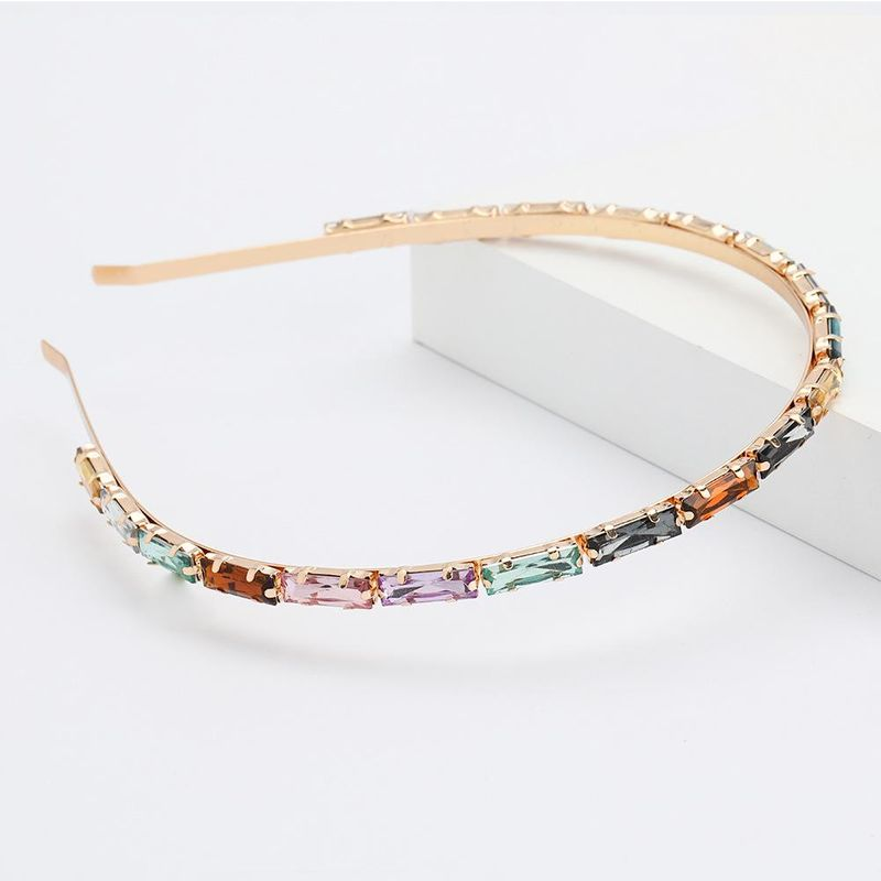 Alloy diamond rectangular glass diamond hair hoop female super flash simple headband wholesale NHJE192731