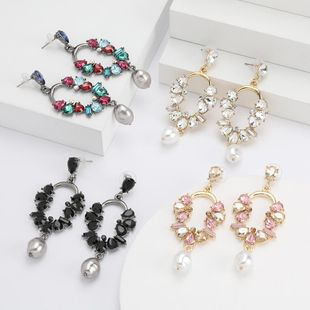 Geometric alloy diamond and rhinestone imitation pearl earrings retro earrings for women NHJE192732's discount tags