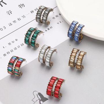 Aretes de diamantes de aleación de moda en forma de C pendientes  NHJE192733