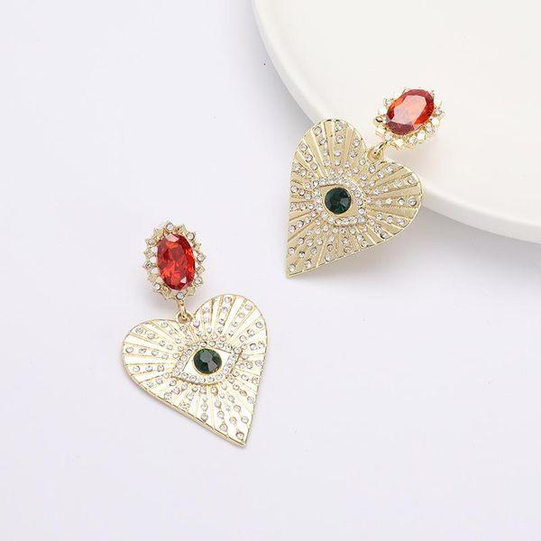 Aretes de diamantes en forma de corazón S925 Pendientes de plata Pendientes  NHJE192738