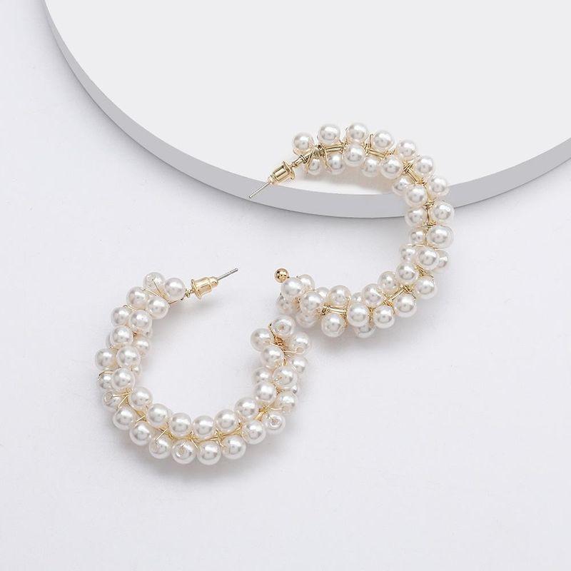 C-shaped alloy multilayer string pearl earrings fashion sweet earrings NHJE192747