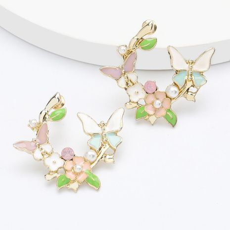 Fashion alloy drop oil inlaid pearl flower butterfly earrings sweet girl heart earrings NHJE192748's discount tags