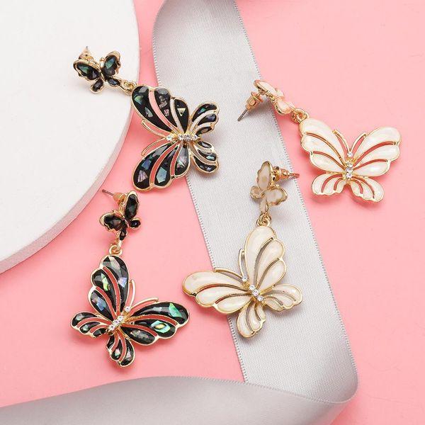 Multi-layer butterfly alloy oil drop diamond earrings heart earrings NHJE192749