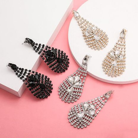 Multi-layer mesh drop-shaped diamond full diamond earrings for women NHJE192752's discount tags