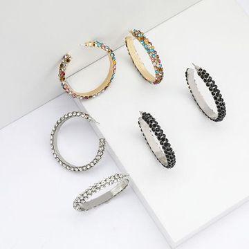 Anillo de moda de múltiples capas de diamantes de imitación de diamantes S925 pendientes de aguja de plata para mujeres NHJE192754