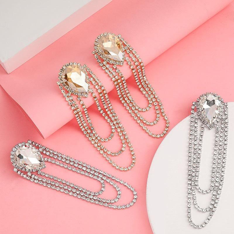 Women's alloy diamond drop shaped glass diamond multilayer rhinestone tassel earrings for women NHJE192758