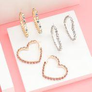 Aretes de amor en forma de corazón para mujer con diamantes  NHJE192759