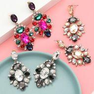 Women's alloy diamond rhinestone glass diamond full diamond earrings NHJE192760