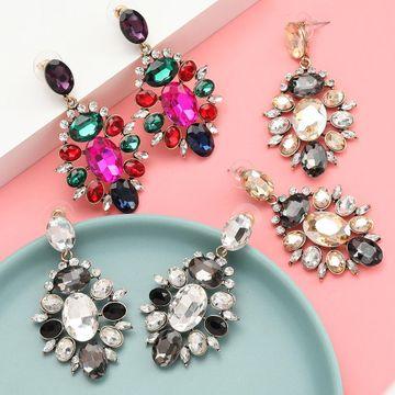 Aretes de diamantes completos de diamantes de imitación de diamantes de aleación para mujer NHJE192760