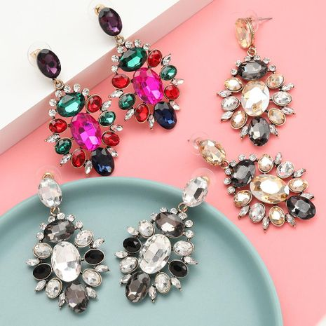 Women's alloy diamond rhinestone glass diamond full diamond earrings NHJE192760's discount tags