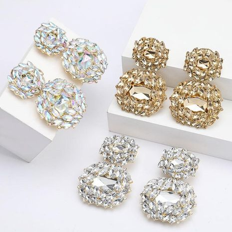Women's multilayer alloy diamond earrings NHJE192766's discount tags
