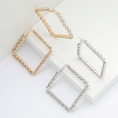 Personalized minimalist square alloy diamond and rhinestone super flash earrings for women NHJE192768's discount tags