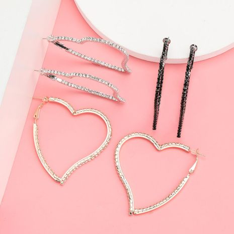 Temperament Minimalist Love Heart-shaped Alloy Diamond Rhinestone Geometric Earrings NHJE192769's discount tags
