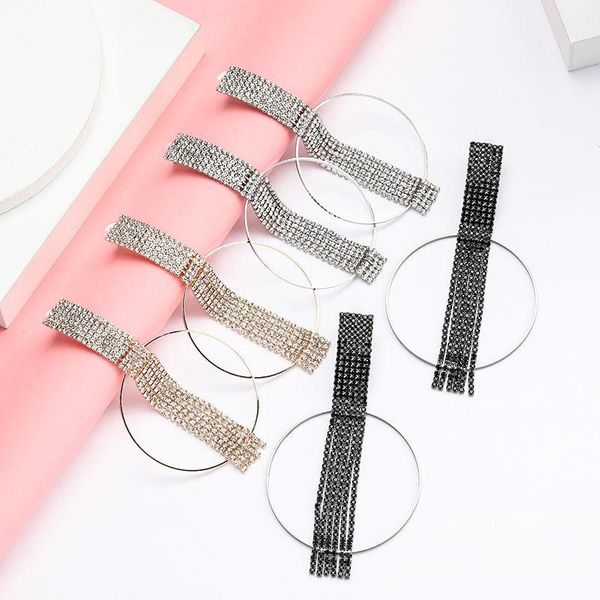 Personality creative alloy ring rhinestone diamond tassel earrings women NHJE192770