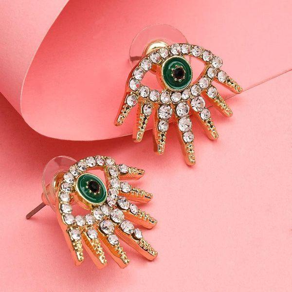 Personalized fashion alloy oil drop diamond rhinestone eyes European and American earrings NHJE192771