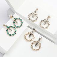 Aretes redondos de diamantes de imitación de diamantes de imitación para mujer NHJE192772
